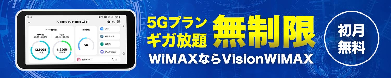 5Gプランギガ放題 無制限 初月無料 WiMAXならVISION WiMAX